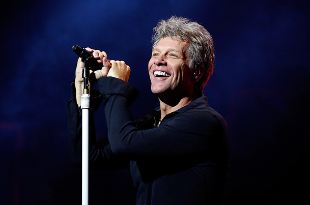LONDON, ENGLAND - OCTOBER 10: Jon Bon Jovi of Bon Jovi performs songs from their new album 'This House Is Not For Sale' at London Palladium on October 10, 2016 in London, England. (Photo by Simone Joyner/Getty Images)